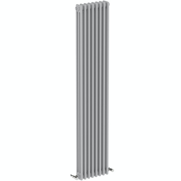 The Bath Co. Dulwich stone grey vertical triple column radiator 1800 x 380