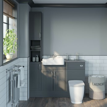Reeves Newbury dusk grey tall fitted furniture combination with mineral grey worktop