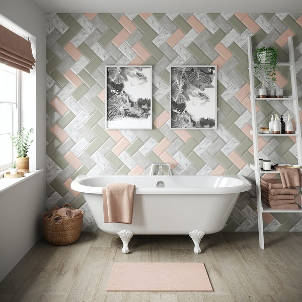 Metro silver marble bevelled gloss wall tile 100mm x 200mm