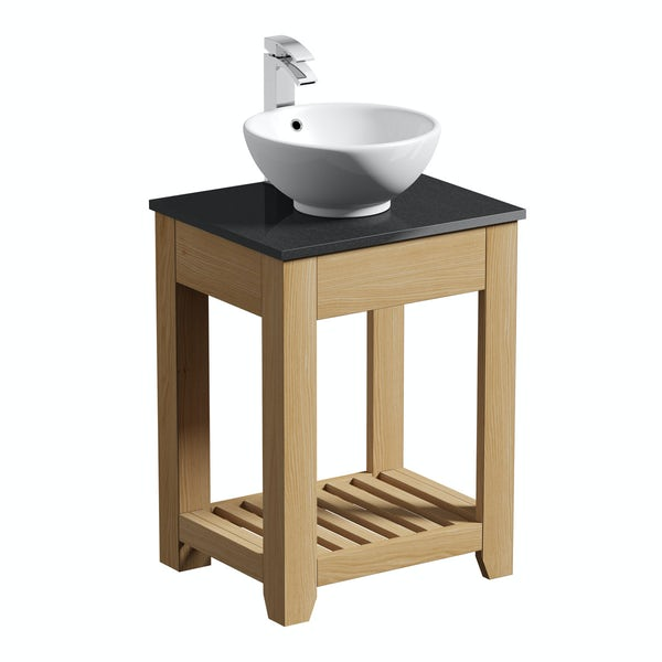 The Bath Co. Hoxton oak washstand with black marble top and Eden basin 600mm