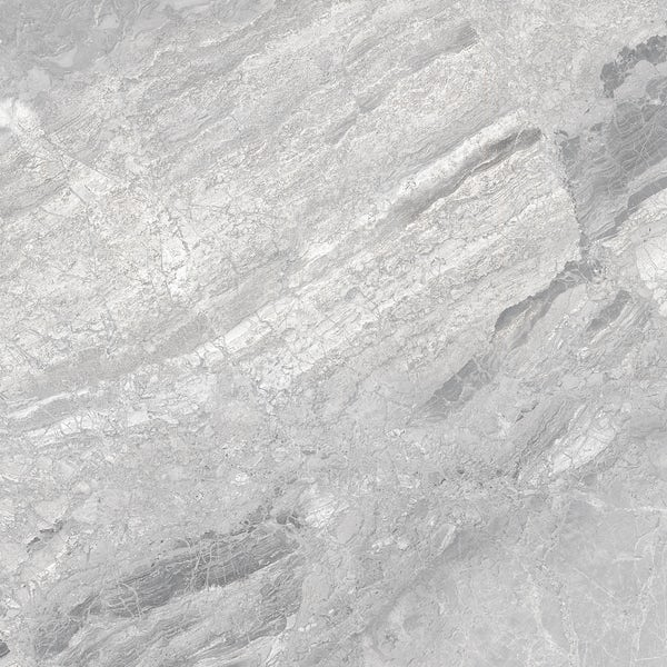 Fusion silver marble effect gloss wall and floor tile 600mm x 600mm