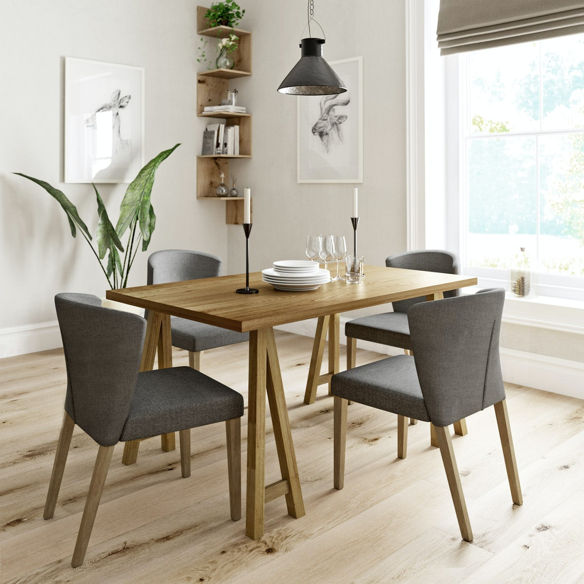 Hudson Oak Table With 4x Hudson Grey Chairs Victoriaplum Com