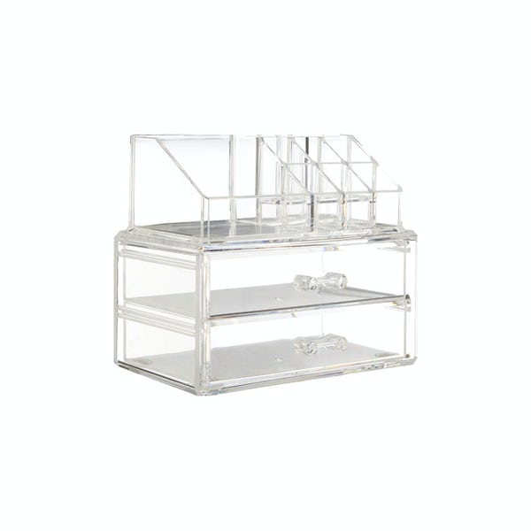 Accents Clear cosmetic organiser with 9 compartments and 2 drawers