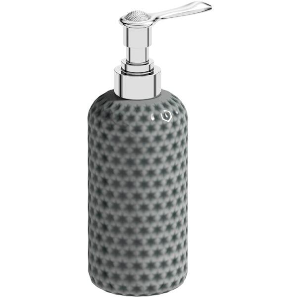 Accents Positano grey polka dot 3 piece bathroom set