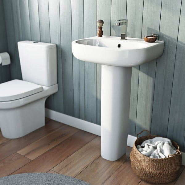 Mode Burton complete bathroom suite with enclosure, tray, shower and taps