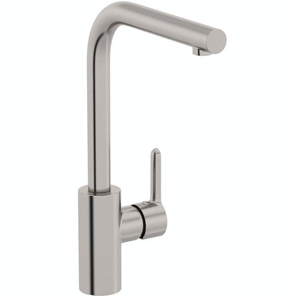 Schon Firth L shaped brushed nickle single lever kitchen mixer tap