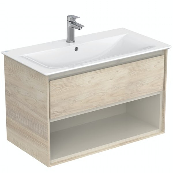Ideal Standard Concept Air wood light brown open wall hung vanity unit and basin 800mm with free tap