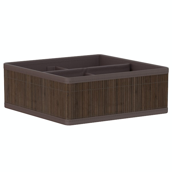 Natural bamboo 4 section dark brown storage basket