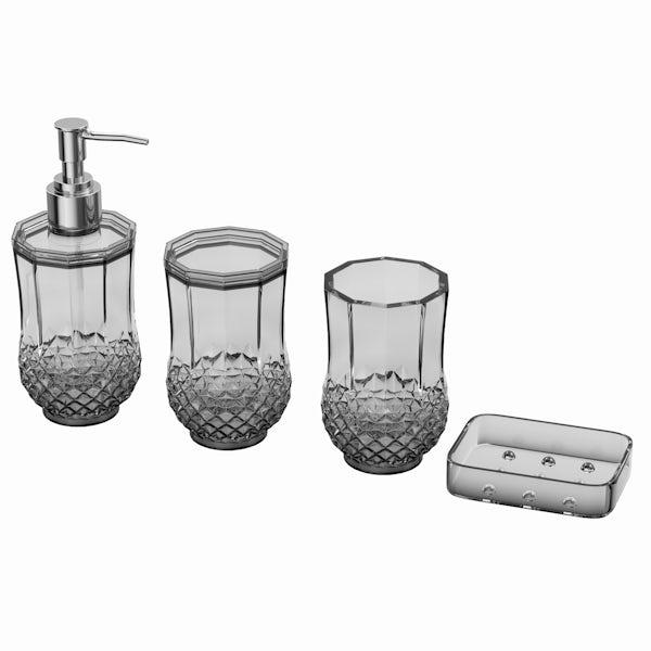 Cristallo clear 4pc bathroom accessory set