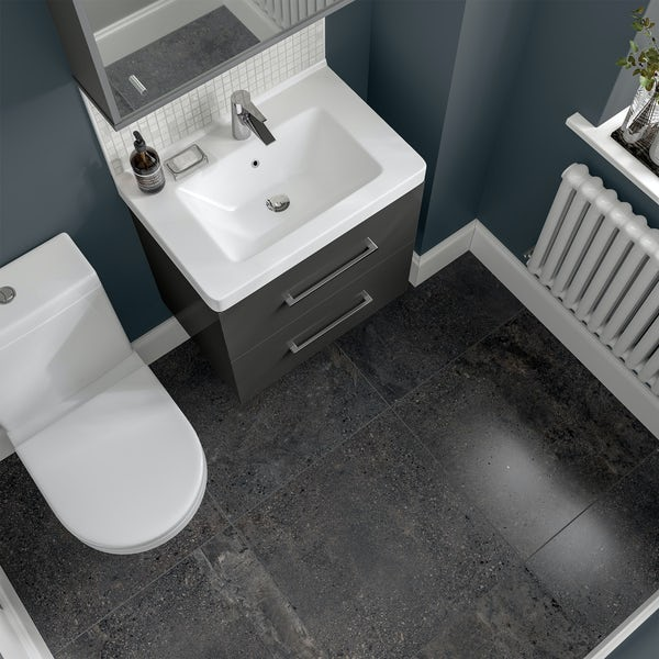 Michigan anthracite grey stone effect matt wall and floor tile 600mm x 600mm