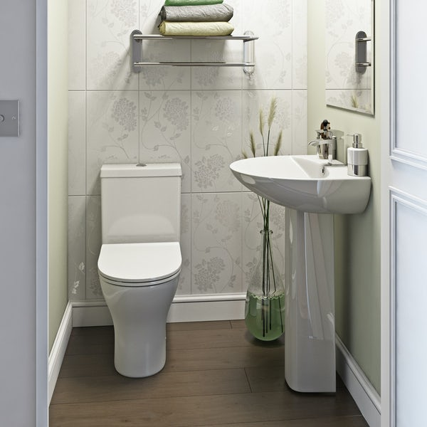 Orchard Derwent round complete cloakroom suite with full pedestal basin 550mm