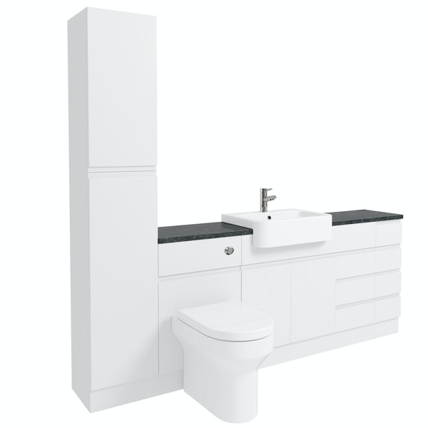 Orchard Wharfe white straight large drawer fitted furniture pack with black worktop