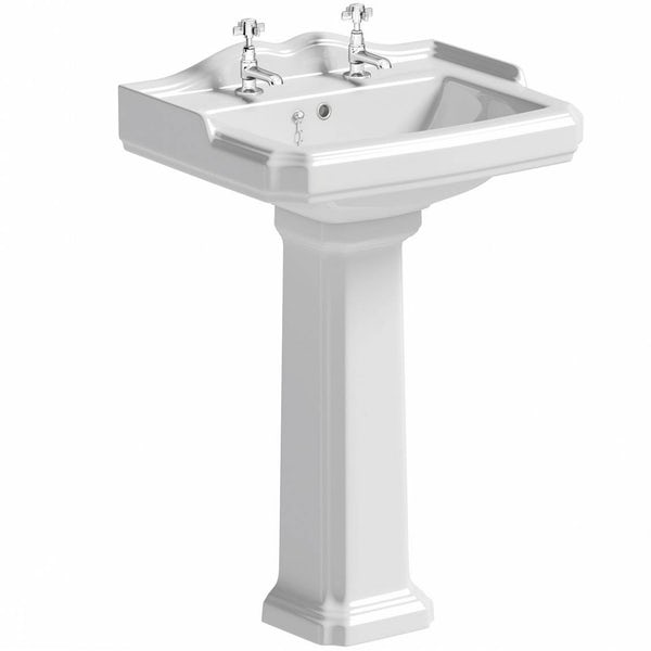 Winchester close coupled toilet suite with black seat and full pedestal basin 600mm
