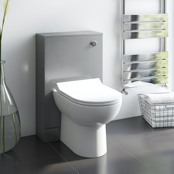 Orchard Derwent stone grey back to wall unit with Eden contemporary back to wall toilet
