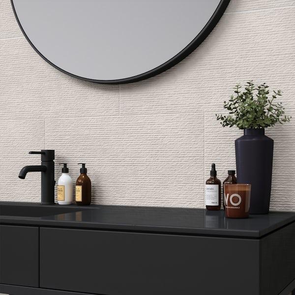 British Ceramic Tile Dune textured white matt wall tile 298mm x 598mm