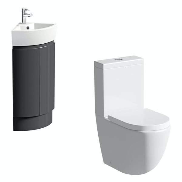 Mode Harrison slate gloss grey corner cloakroom suite with rimless close coupled toilet