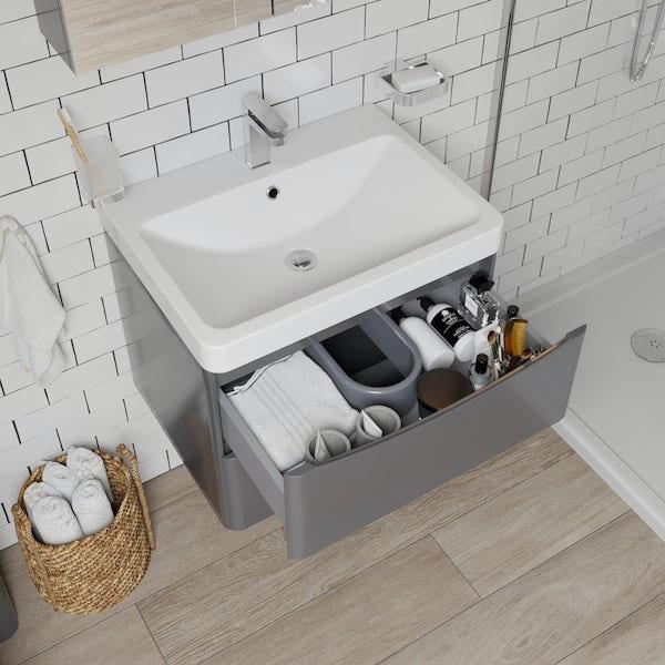 Mode Adler grey 600mm wall hung vanity unit and basin