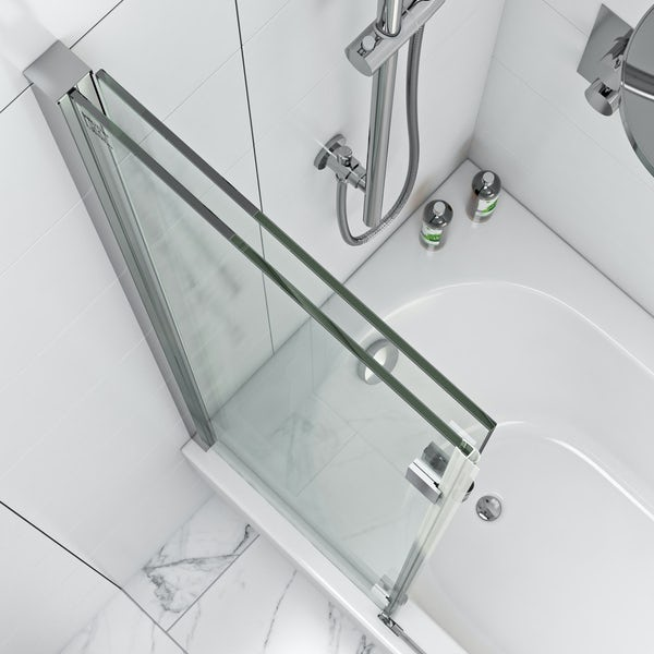 Mode luxury 8mm square double panel hinged bath screen