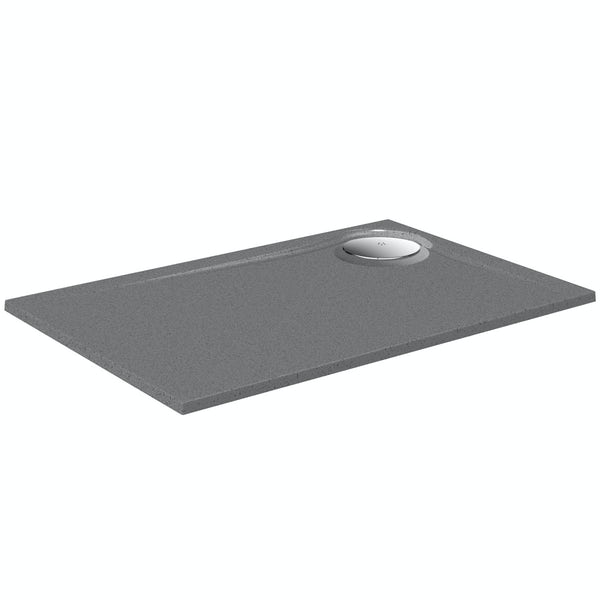 Mode grey granite effect left handed rectangular stone shower tray 1200 x 800