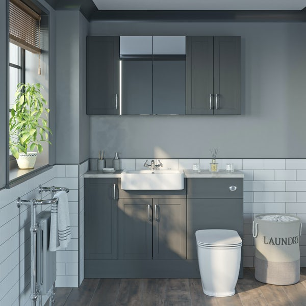 The Bath Co. Newbury dusk grey small fitted furniture & storage combination with beige worktop