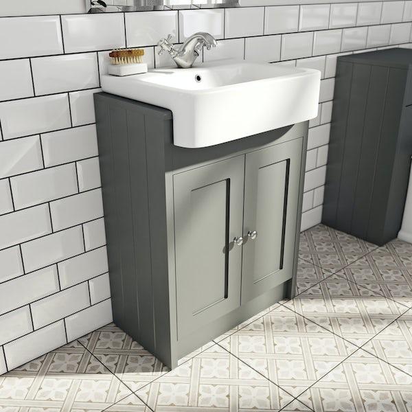 The Bath Co Dulwich Stone Grey Semi Recessed Vanity Unit