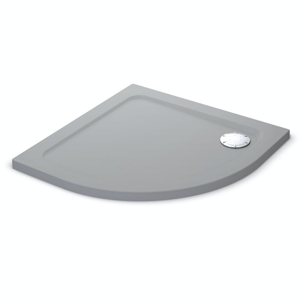 Mira Flight Safe low level anti-slip quadrant shower tray 900 x 900 in Titanium grey