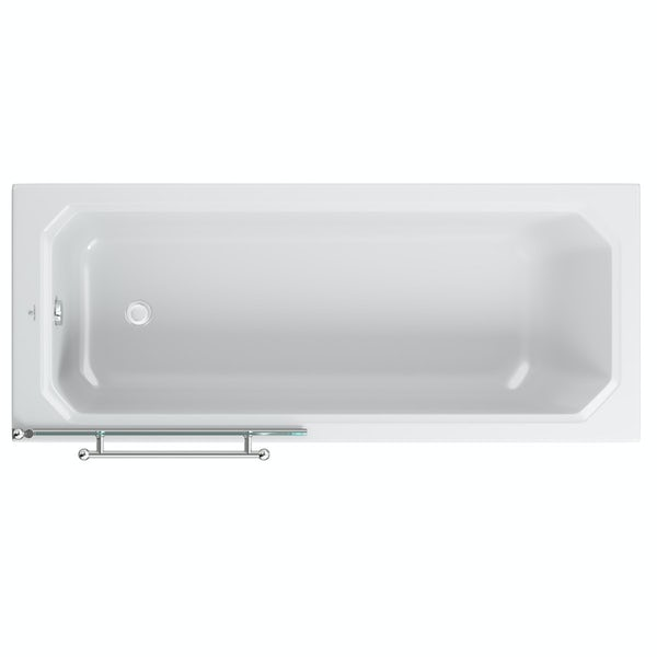 The Bath Co. traditional straight shower bath with 6mm Winchester shower screen and rail