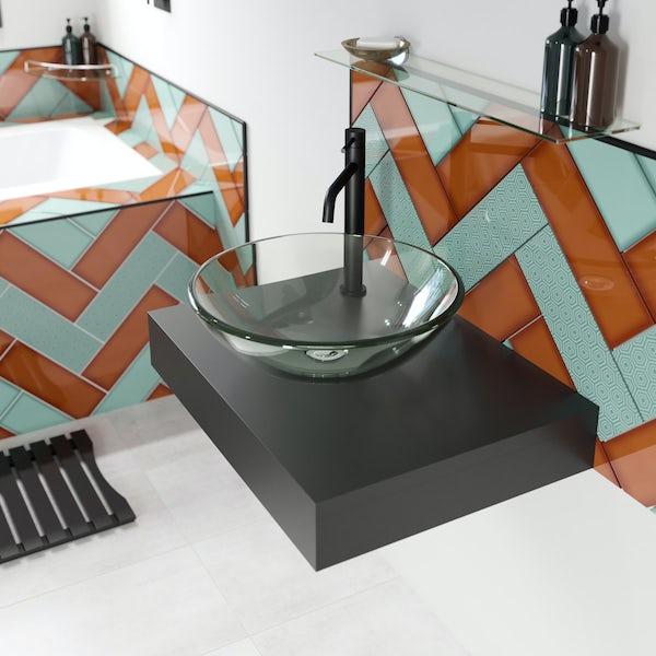 Mode Orion slate gloss grey wall hung countertop basin shelf