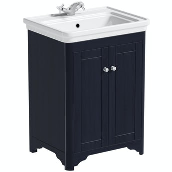 The Bath Co. Beaumont sapphire blue floorstanding vanity unit and basin 630mm