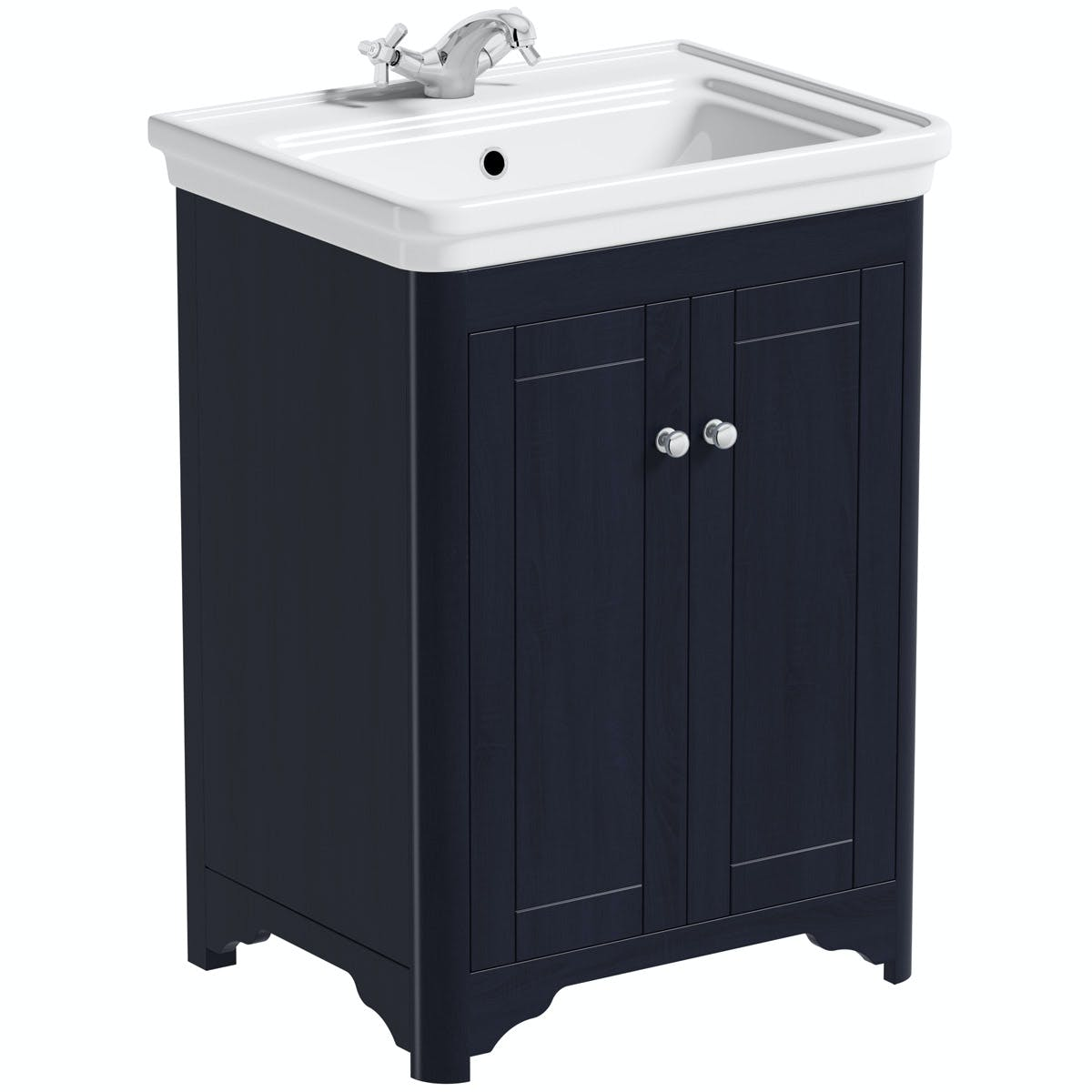 The Bath Co Beaumont Sapphire Blue Floorstanding Vanity Unit And Basin 630mm