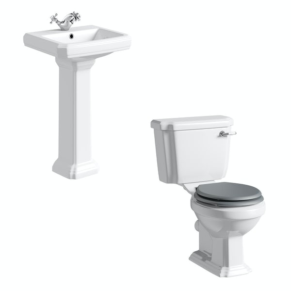 The Bath Co. Dulwich cloakroom suite with grey seat and full pedestal basin 571mm