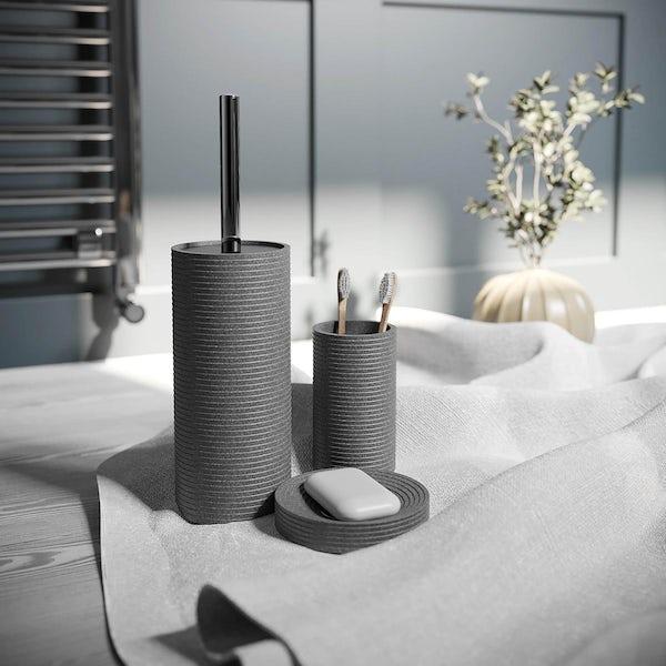 Accents Bora Bora grey ceramic 3 piece bathroom set with soap dish