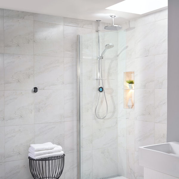 Aqualisa Optic Q Smart exposed shower with adjustable handset and ceiling head gravity pumped