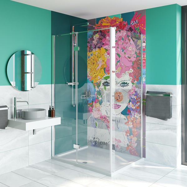 Louise Dear The Serenade Turquoise acrylic shower wall panel pack with hinged rectangular enclosure