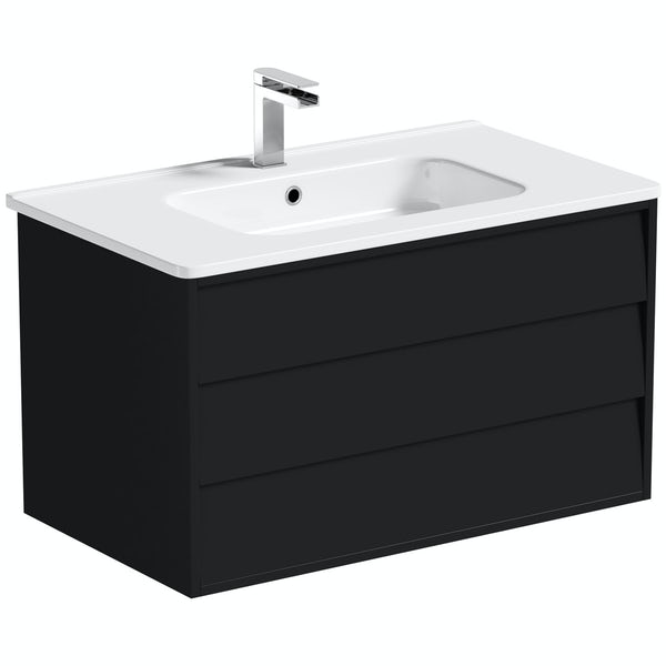 Mode Cooper anthracite black wall hung vanity unit and basin 800mm