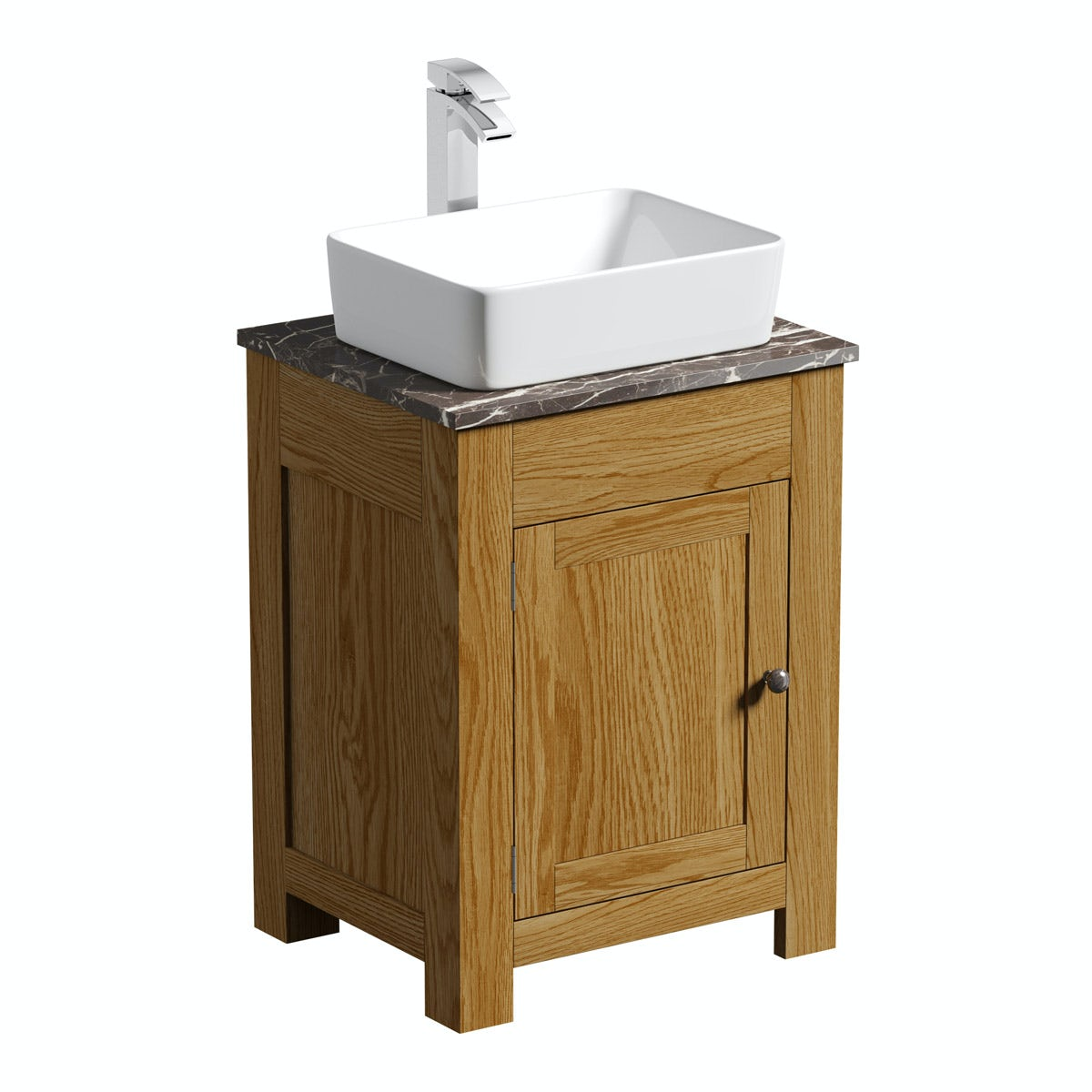 The Bath Co Chester Oak Washstand With Brown Marble Top