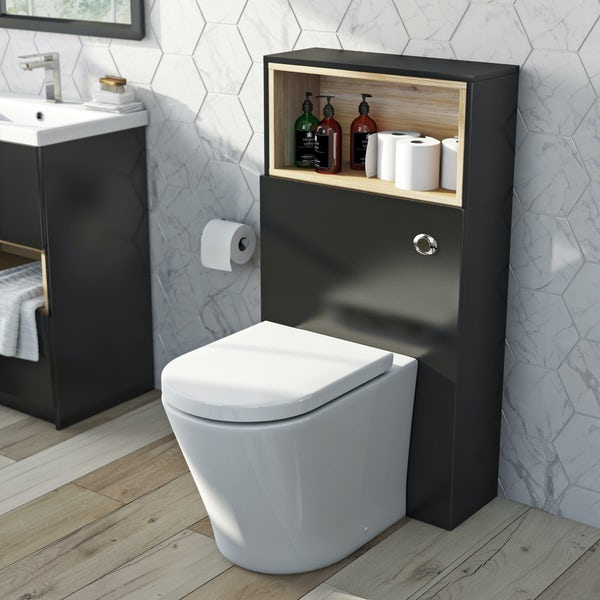 Mode Tate anthracite black & oak slimline back to wall unit with contemporary toilet and seat