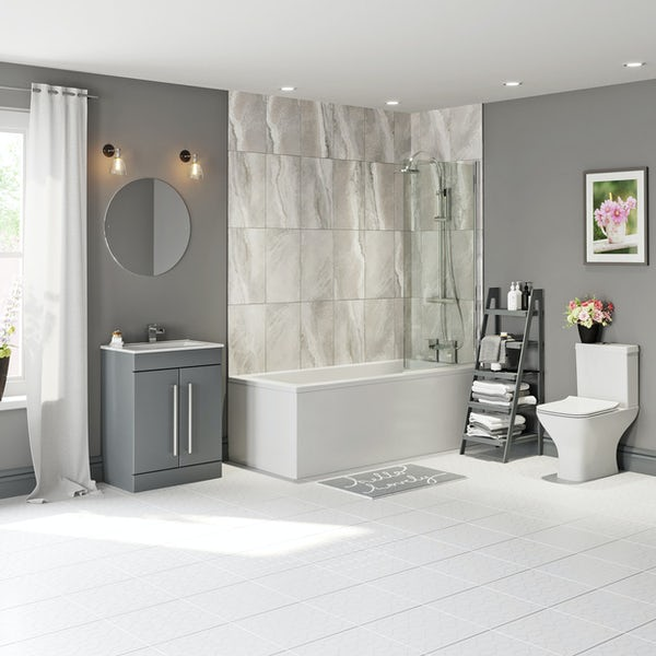 Orchard Square edge straight shower bath with 6mm square shower screen