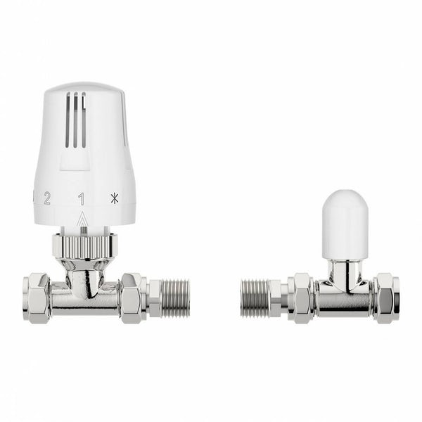 Thermostatic White Straight Radiator Valves