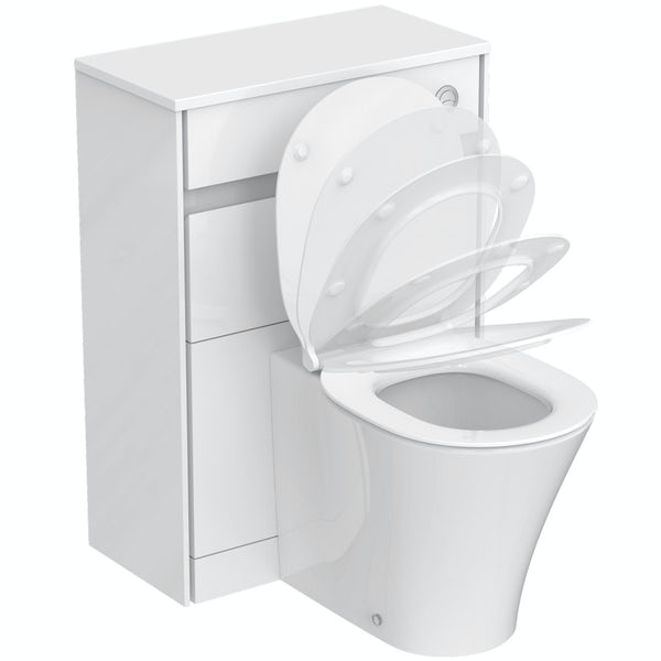 Ideal Standard Concept Air gloss back to wall unit, concealed cistern, push button and toilet with soft close seat