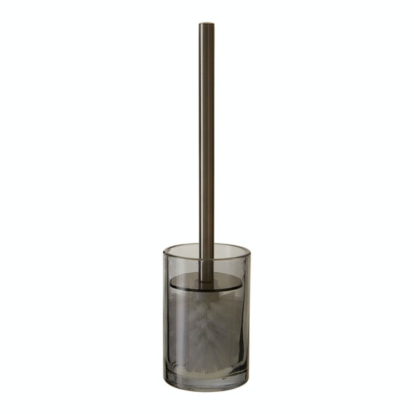 Accents Ridley grey glass toilet brush and holder