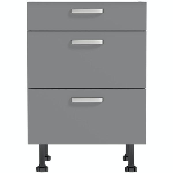 Schon Boston mid grey slab 3 drawer unit