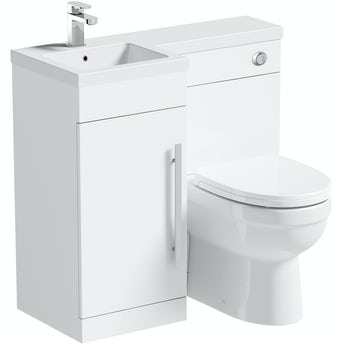 Orchard MySpace white left handed unit with Eden back to wall toilet