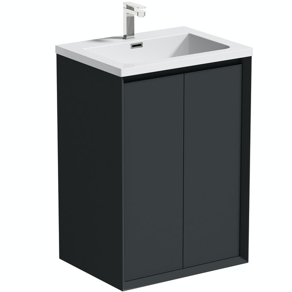 Mode Larsen grey gloss floorstanding vanity unit and basin 600mm