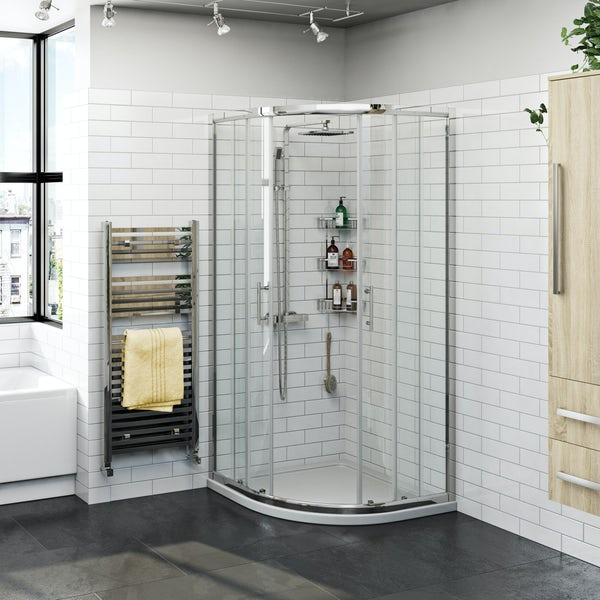 Orchard Elsdon quadrant shower enclosure with shower tray, shower system and waste