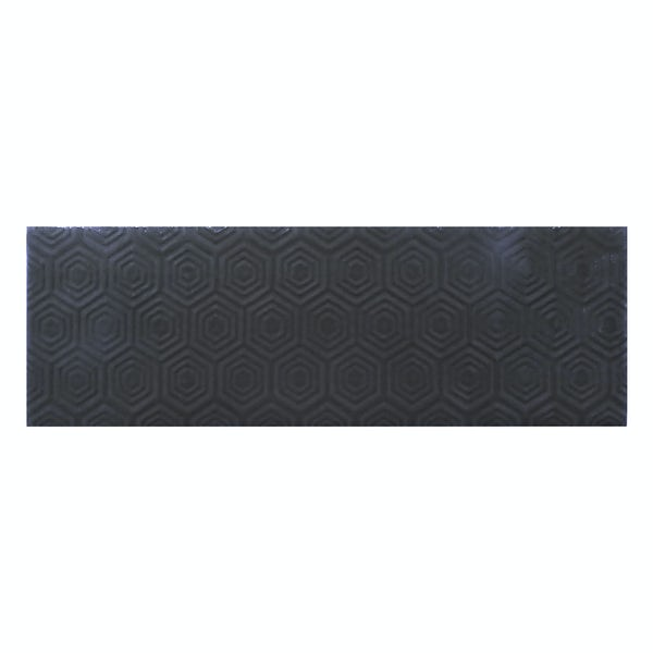 Zenith black patterned gloss wall tile 100mm x 300mm