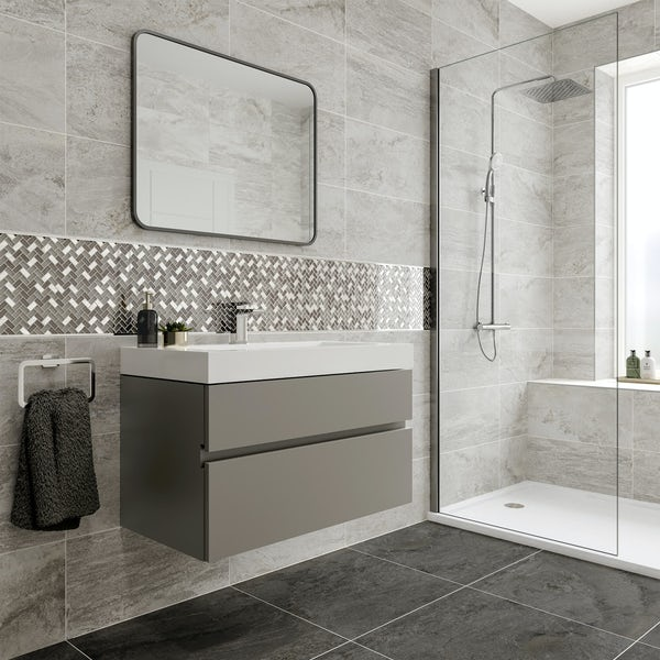 Ontario white stone effect matt wall and floor tile 308mm x 615mm