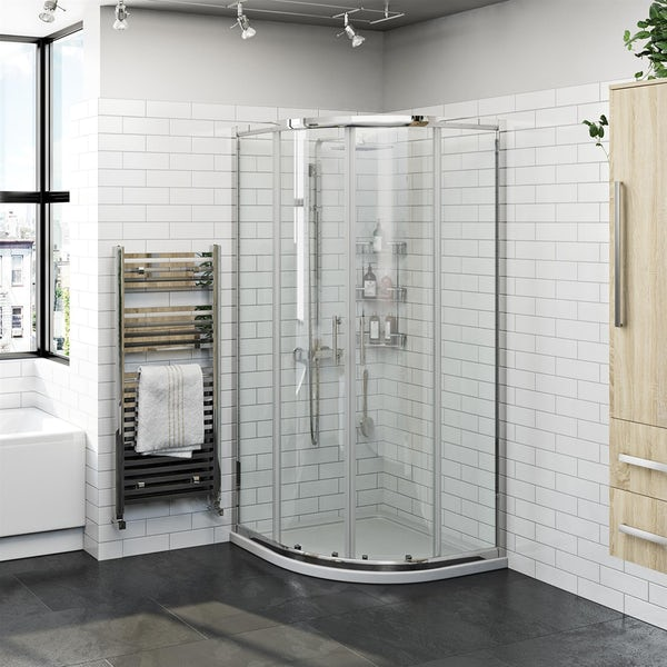Orchard 6mm two door quadrant shower enclosure and stone shower tray