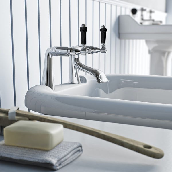 The Bath Co.Winchester bath mixer tap with black lever handle