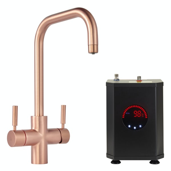 Tuscan Bollente U spout rose gold 3 in 1 boiling hot water tap